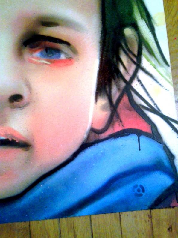 Portrait graffiti sur toile : Juliette 6 ans