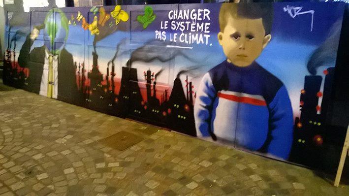Fresque graffiti Cop21 à Quimper