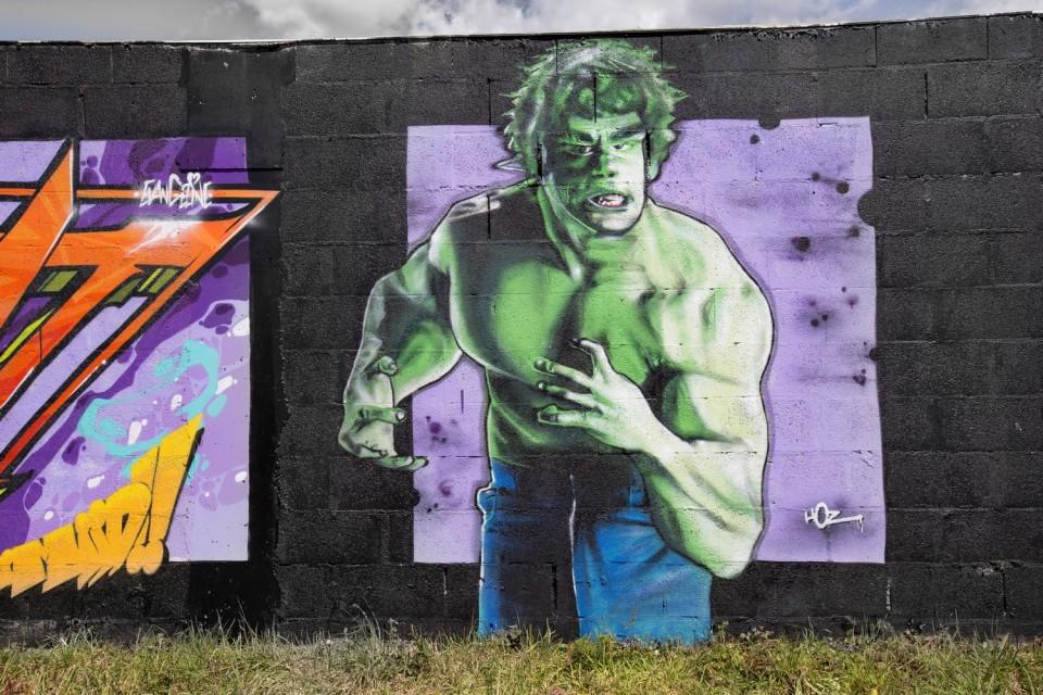 Graffiti Hulk Lou Ferrigno par Hoz à Vannes