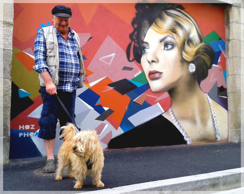 Fresque graffiti Rue des Réguaires à Quimper