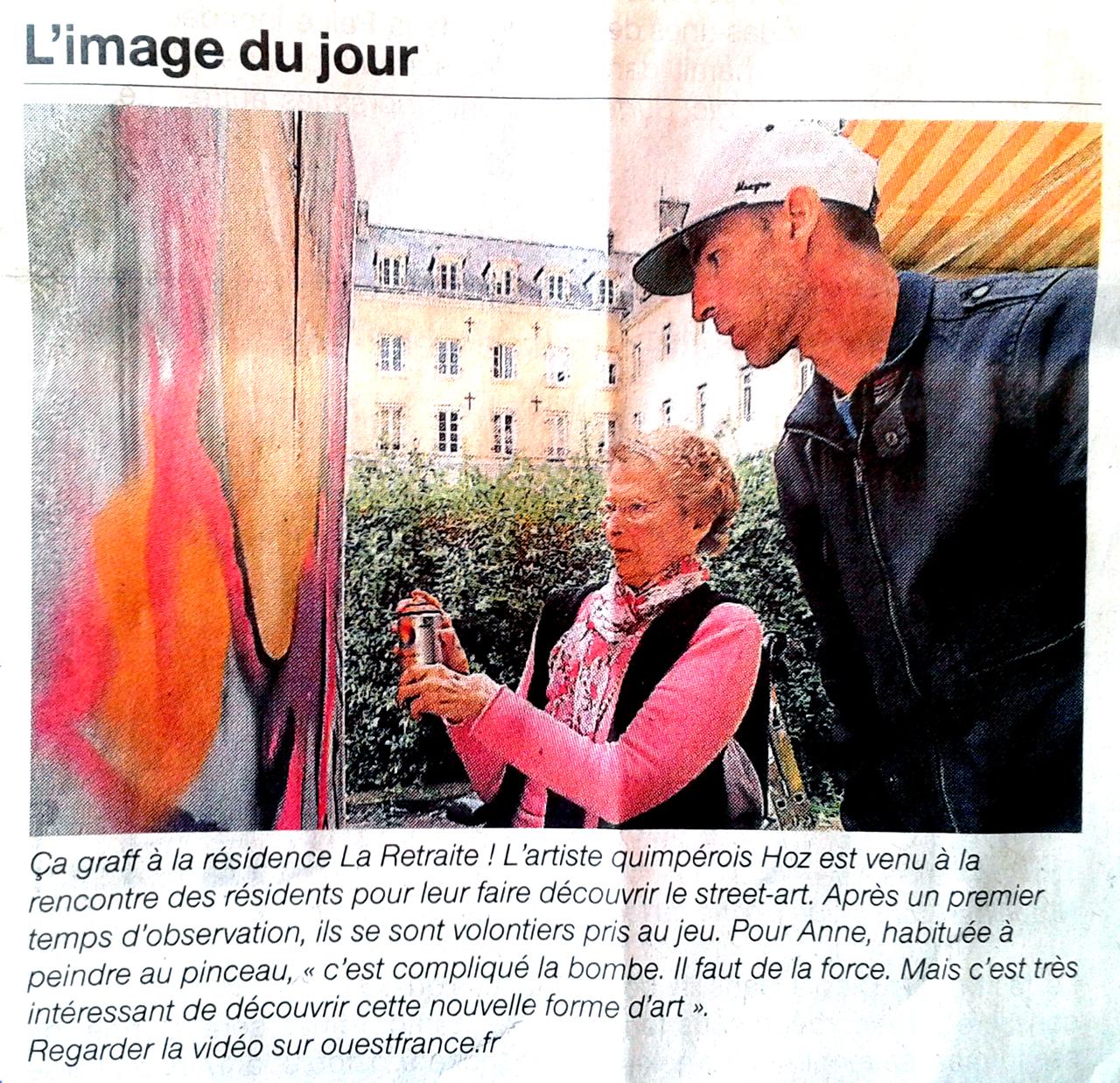Graffiti pour la Semaine Bleue à Quimper