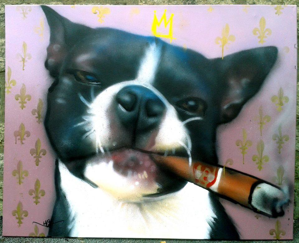 Portrait chien aérosol toile