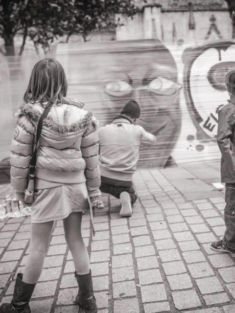 Hommage graffiti #JeSuisCharlie à Quimper