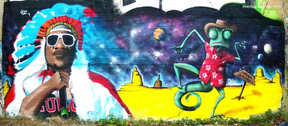"""Fresque graffiti """"Afrika Bambaataa"""" et Ringo :)"""