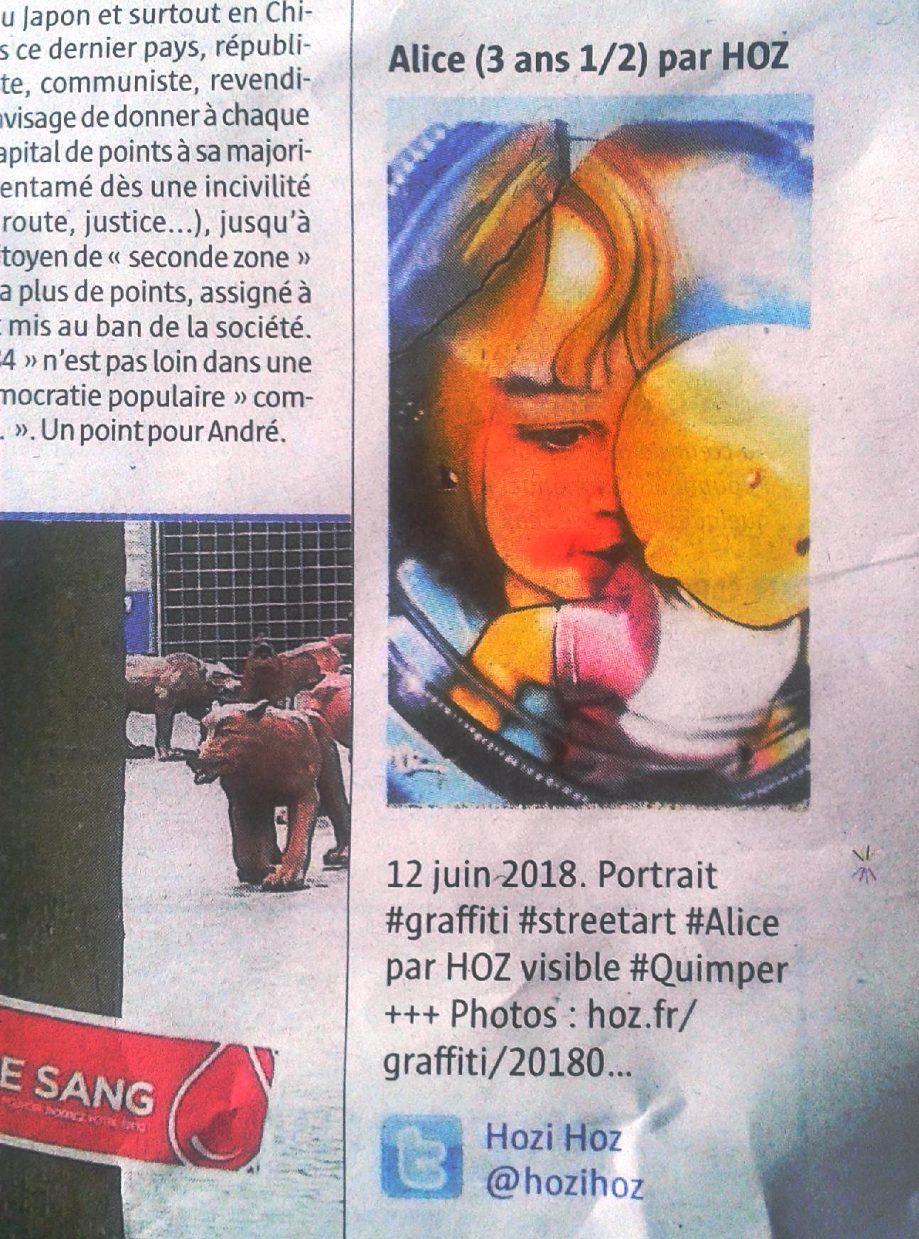Portrait graffiti par HOZ paru dans le Télégramme Quimper du 16 juin 2018