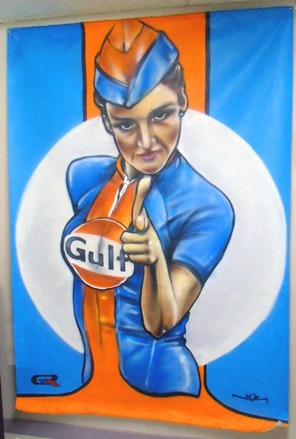 Portrait de Pin-up. Aérosol sur toile par HOZ. Octobre 2018
