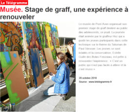 Stage graffiti Pont-Aven. Exposition Talisman octobre 2018.