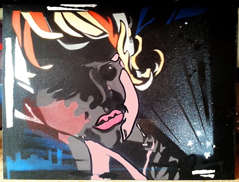 Détail pochoir sur toile portrait graffiti Alice par HOZ. Avril 2018