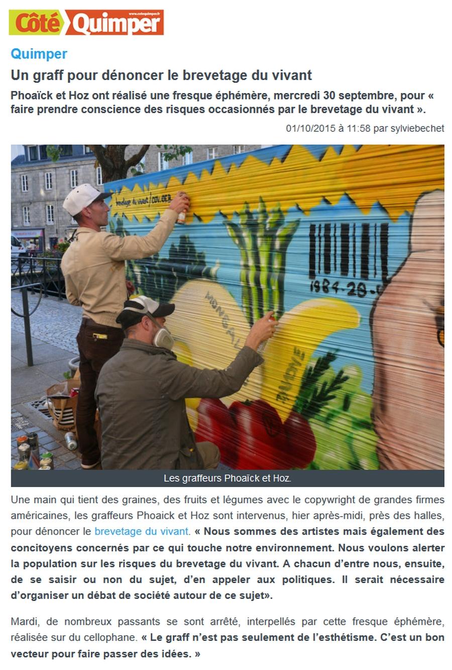 Fresque graffiti brevetage du vivant à Quimper