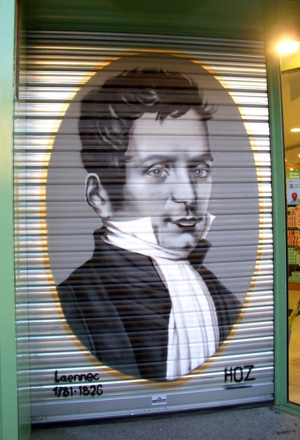 Portrait graffiti de René Laennec à Quimper