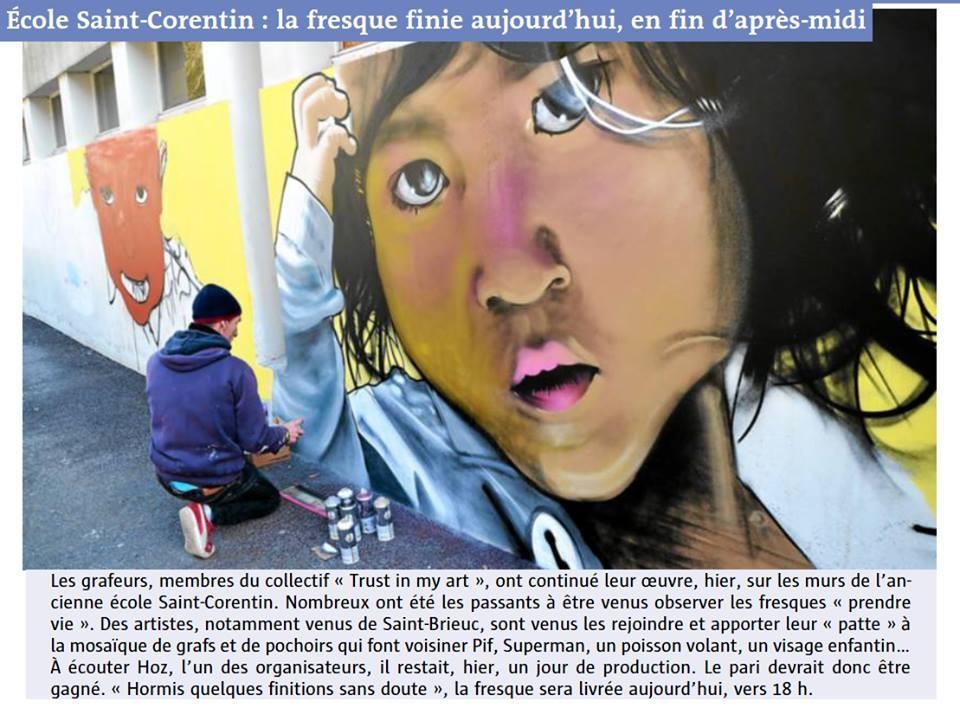 Fresque graffiti street-art Ecole Saint Corentin Quimper