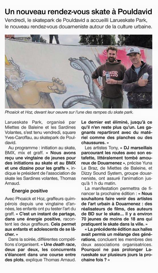 Fresque graffiti pour LaRueSkate à Douarnenez