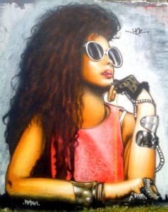 Penseuse : portrait graffiti à Quimper