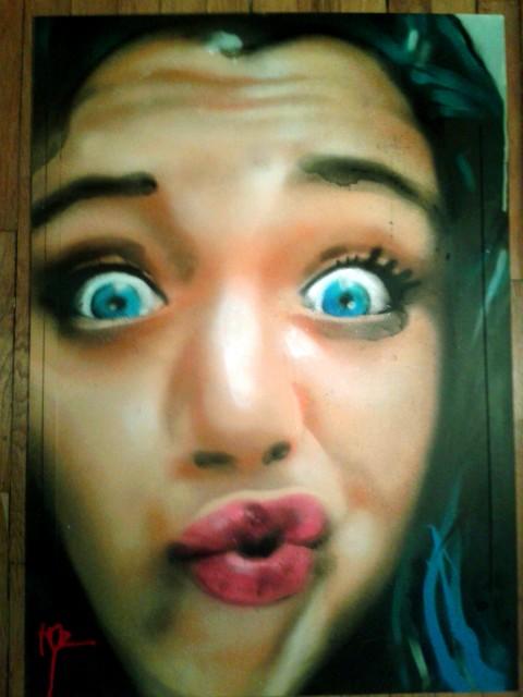 Portraits aérosol sur toile (1) : Duck face.