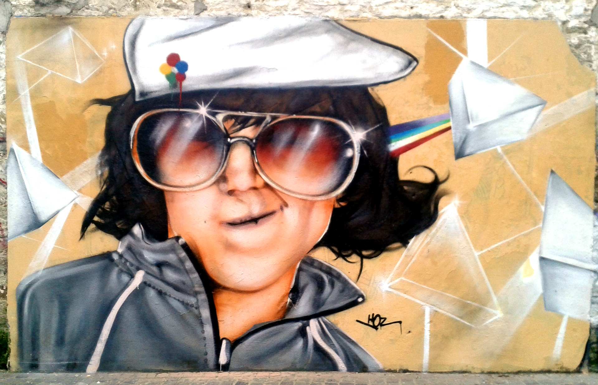 Portrait graffiti Esplanade F. Mitterrand à Quimper