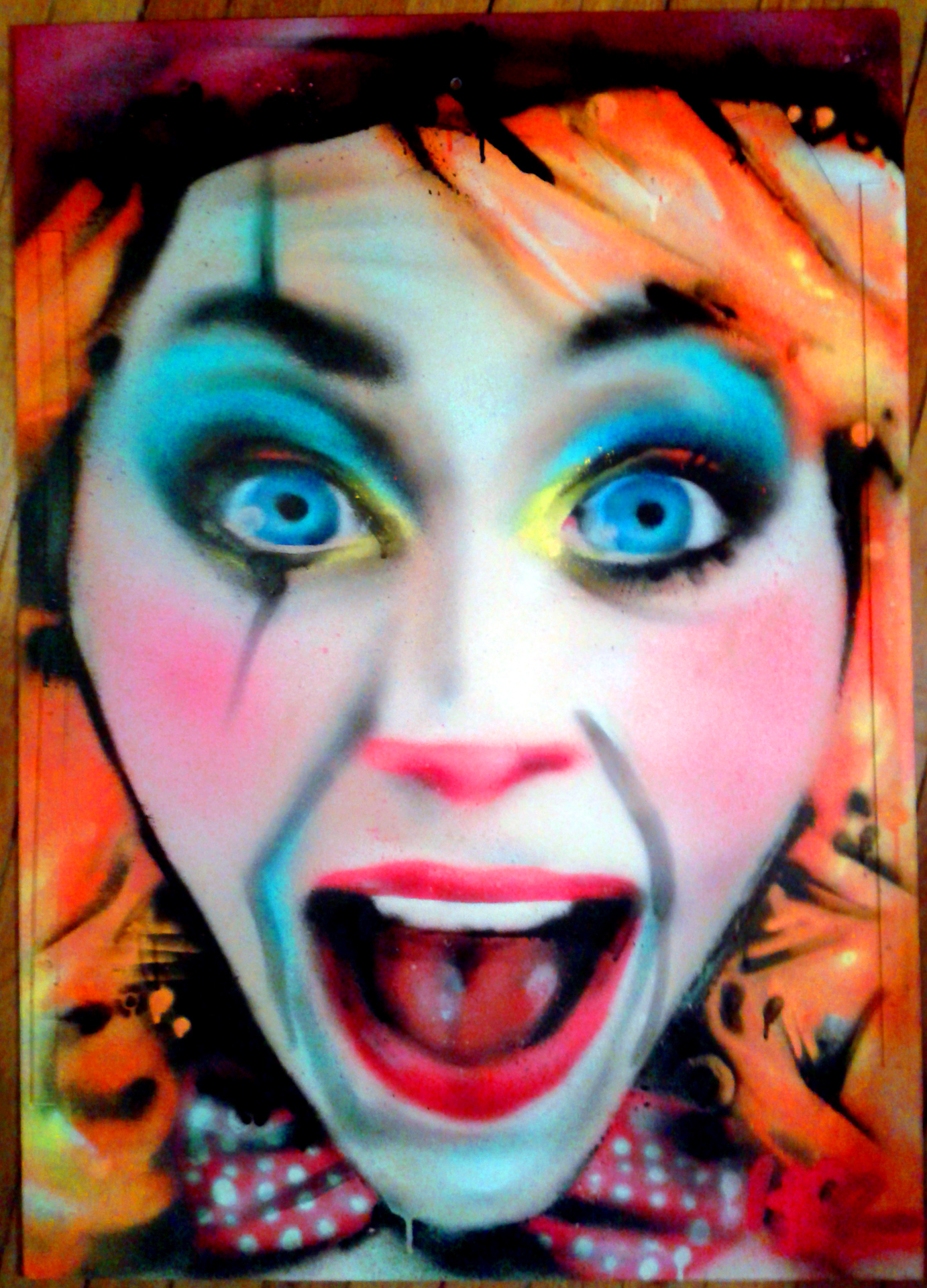 Portraits aérosol sur toile (2) : Clown.
