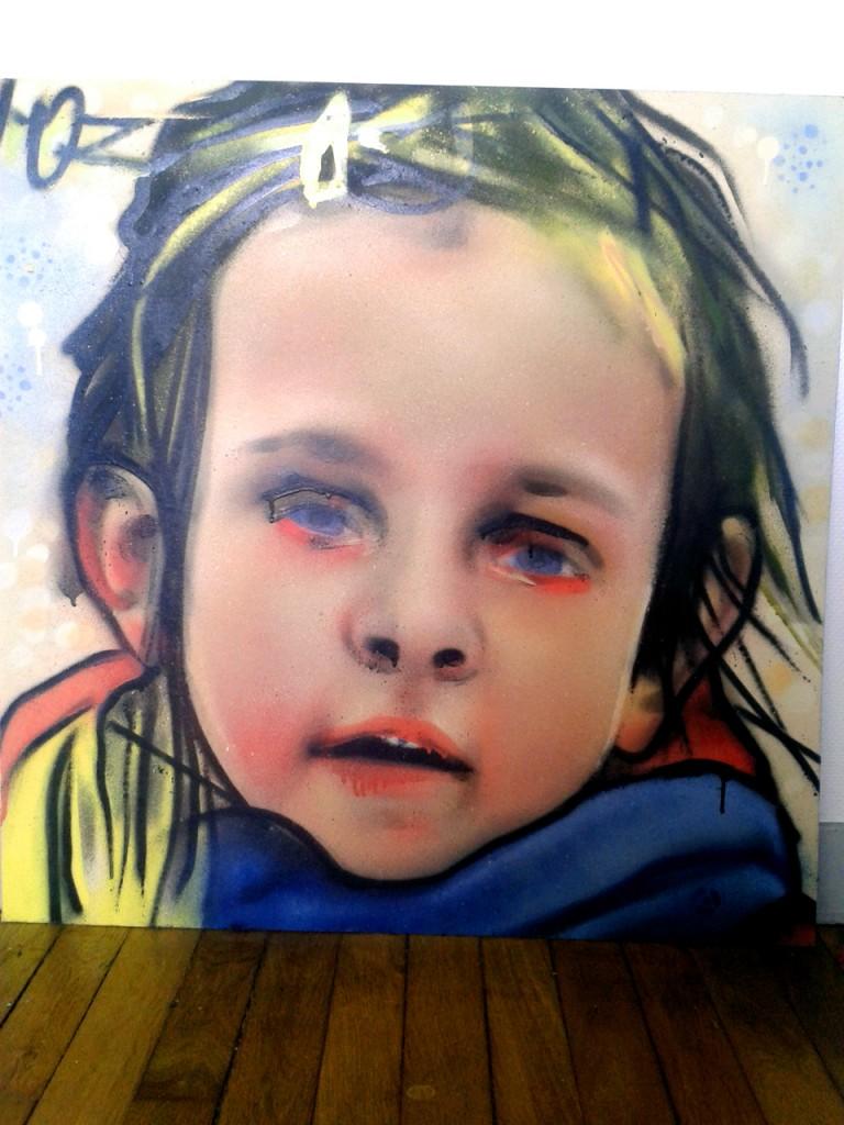 Portrait de Juliette à l'aérosol par HOZ