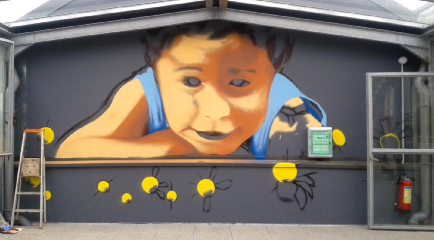 Fresque décoration graffiti à Ehpad Thérèse Rondeau à Quimper