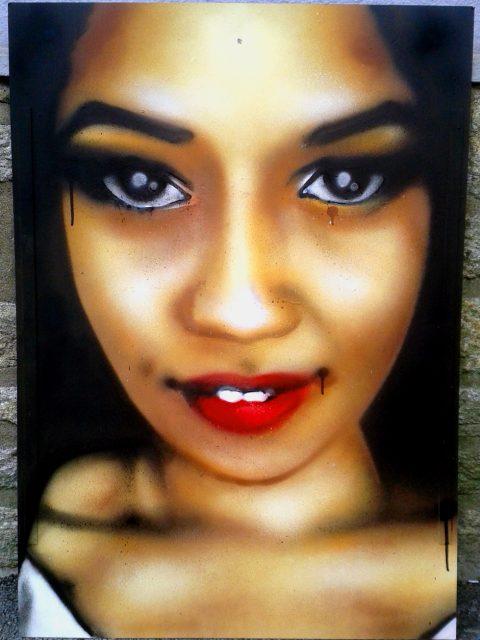 """Portrait aérosol sur toile (7) : """"Olympia"""""""