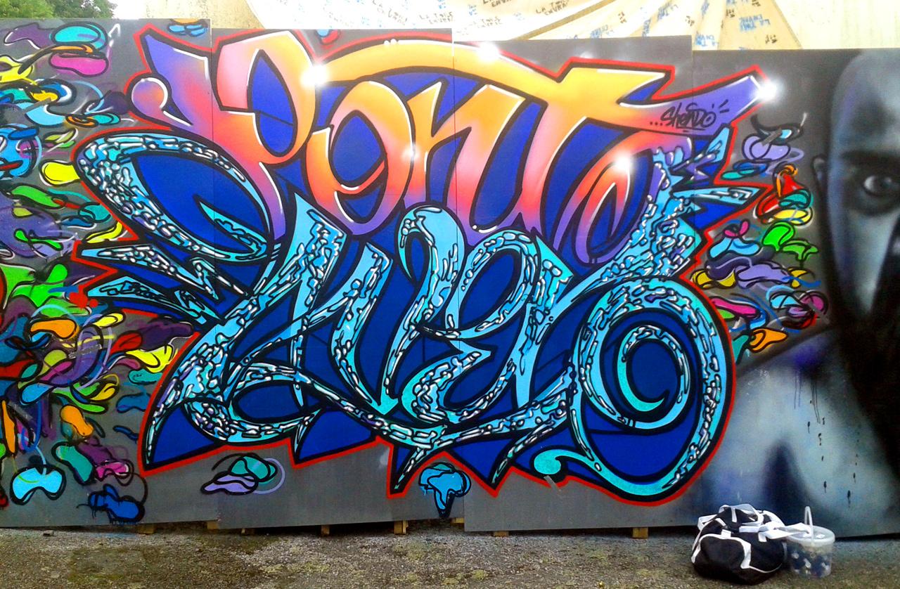 Fresque graffiti pour le Festival La toile en vrac à Pont-Aven