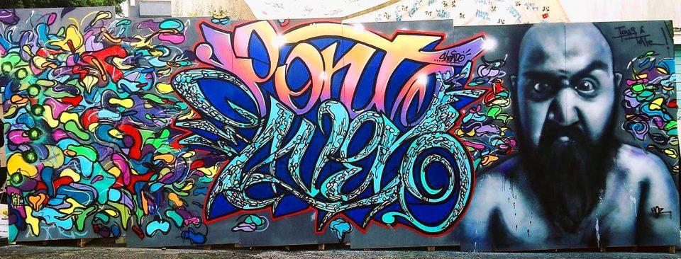 Fresque graffiti réalisée par Polio77, Shendo et HOZ à Pont-Aven en septembre 2017
