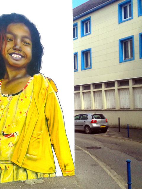 Fresque graffiti anamorphose à Quimper