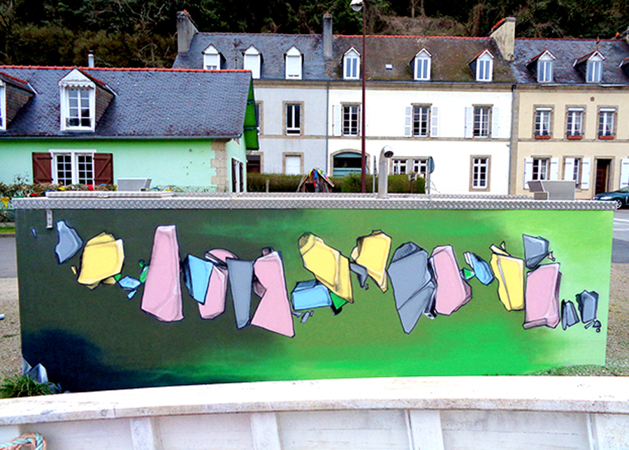 Fresque décoration graffiti à Port-Launay