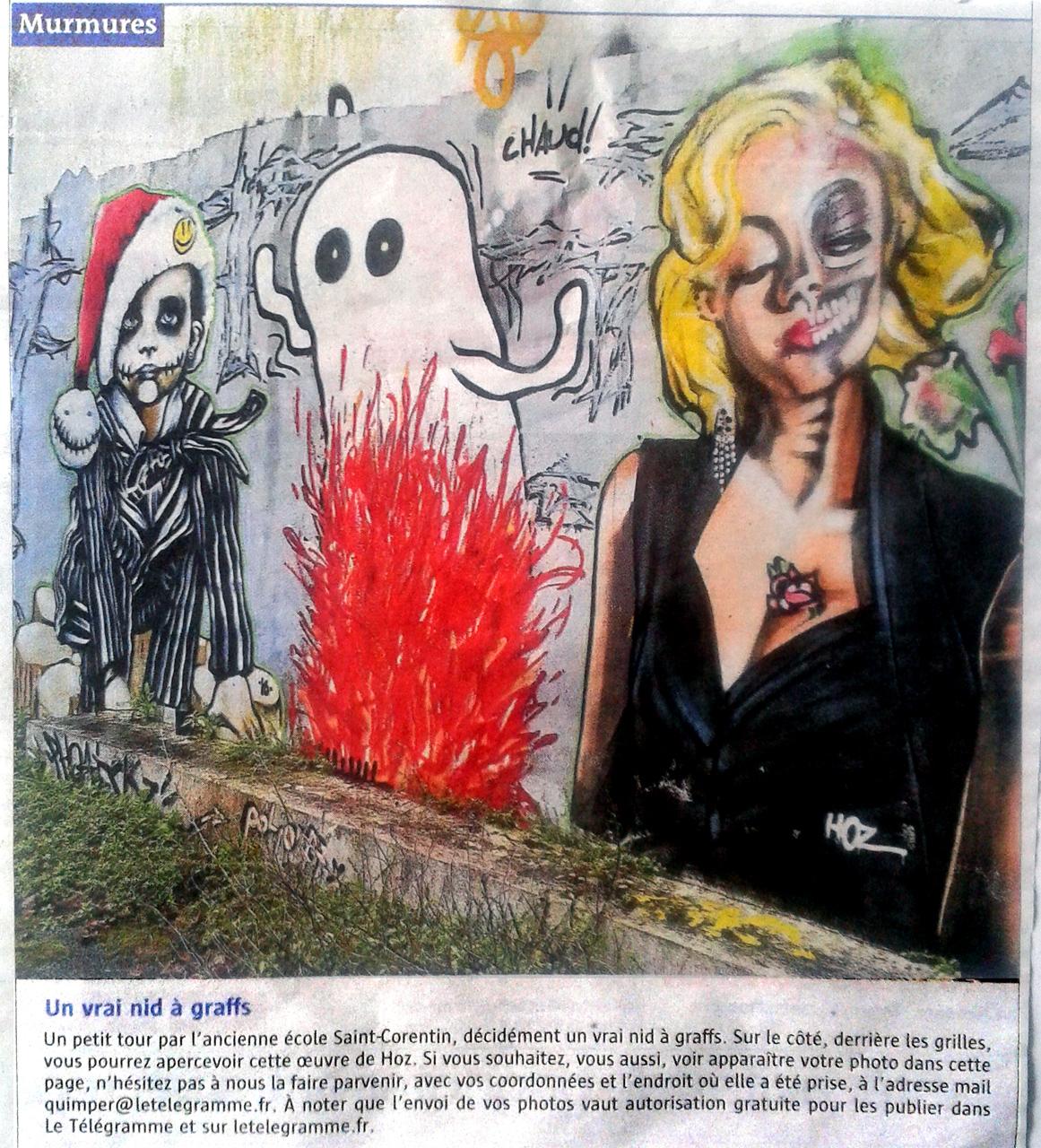 Fresque graffiti - Le Telegramme Quimper 28/04/2018