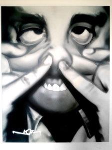 Portrait aérosol sur toile (12) : Grimace