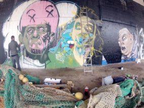 Fresque graffiti Halloween Saint Brieuc 2014