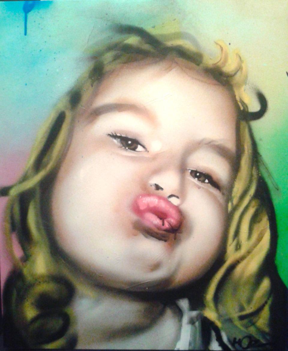 Portrait aérosol sur toile par HOZ. Juin 2019.