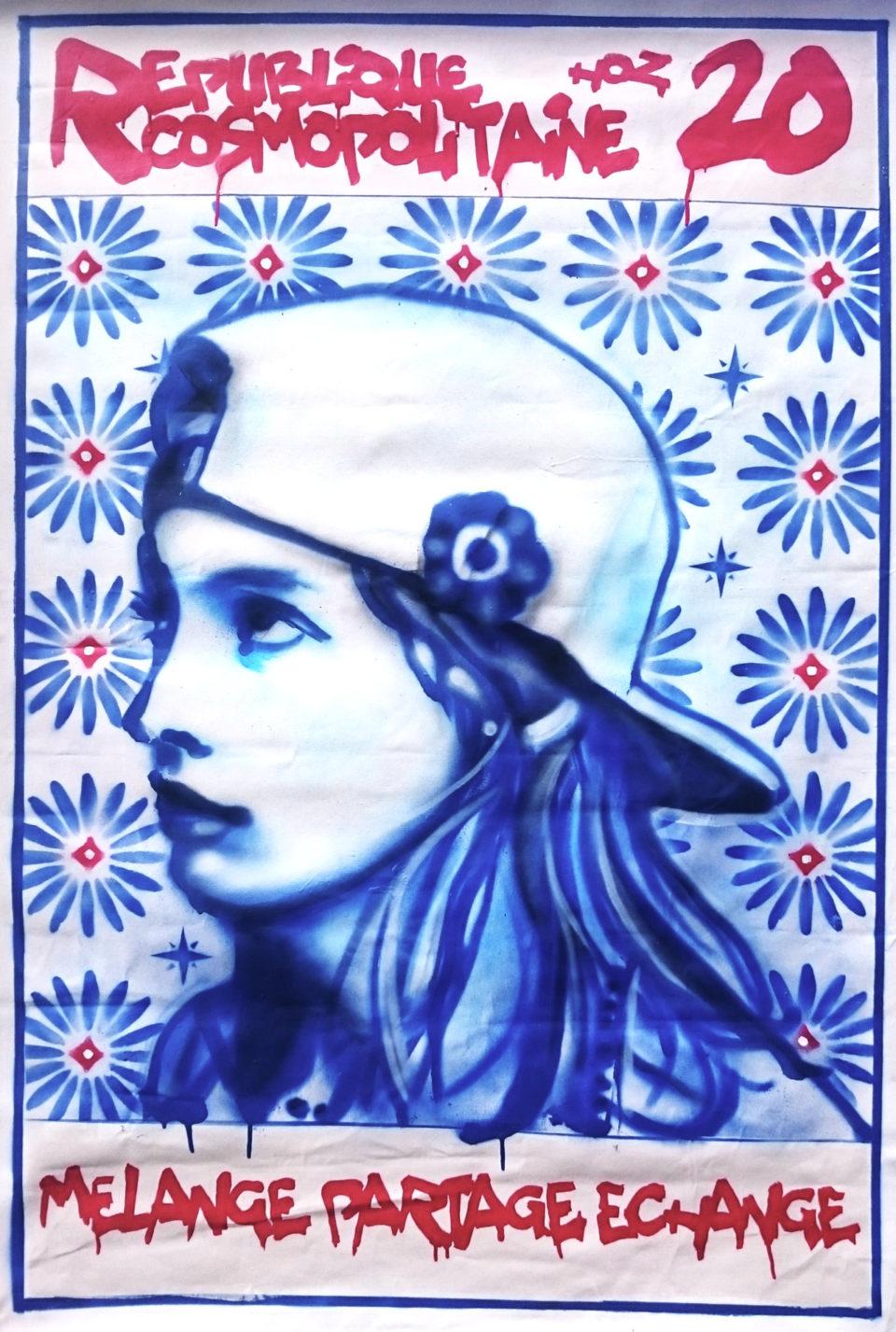 Portrait aérosol Marianne par HOZ 2020