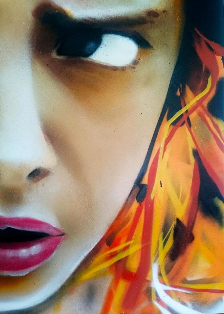 Portrait aérosol de Cara Delevingne par HOZ (détail)