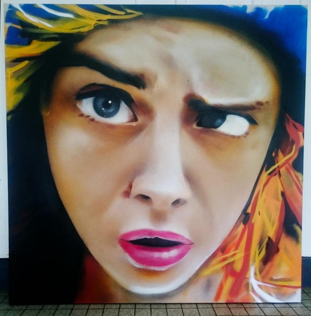 Portrait aérosol de Cara Delevingne par HOZ